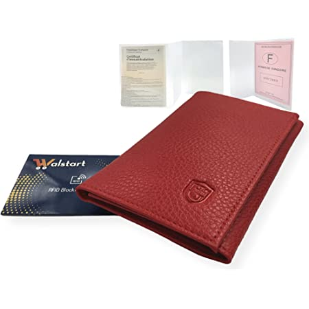 Porte Papier Voiture Cuir avec 2 Etuis Proteges Carte Grise et Permis - Porte Document Véhicule avec Rangement Assurance et vignettes -Bonus : Pochette Blocage RFID WalStart (Rouge)
