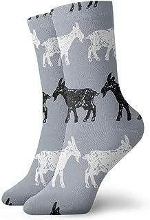 wwoman, Calcetines de vestir estampados para hombres y mujeres Siluetas de cabras Siluetas coloridas divertidas Novedad Crazy Crew Calcetines 30 cm