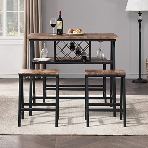 lowest O&K FURNITURE 4-Piece Counter Height Dining Room 2021 Table Set, Bar Table with One Bench and Two Stools, Industrial Table with Wine Rack for Kitchen Counter, Small Space Table and discount Chairs Set, Rustic Brown outlet online sale