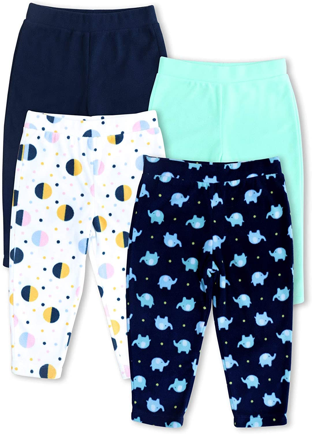 Size 3M - 5T GLASH Kids Baby and Toddler Boys Girls Unisex 4-Pack Fleece Pants