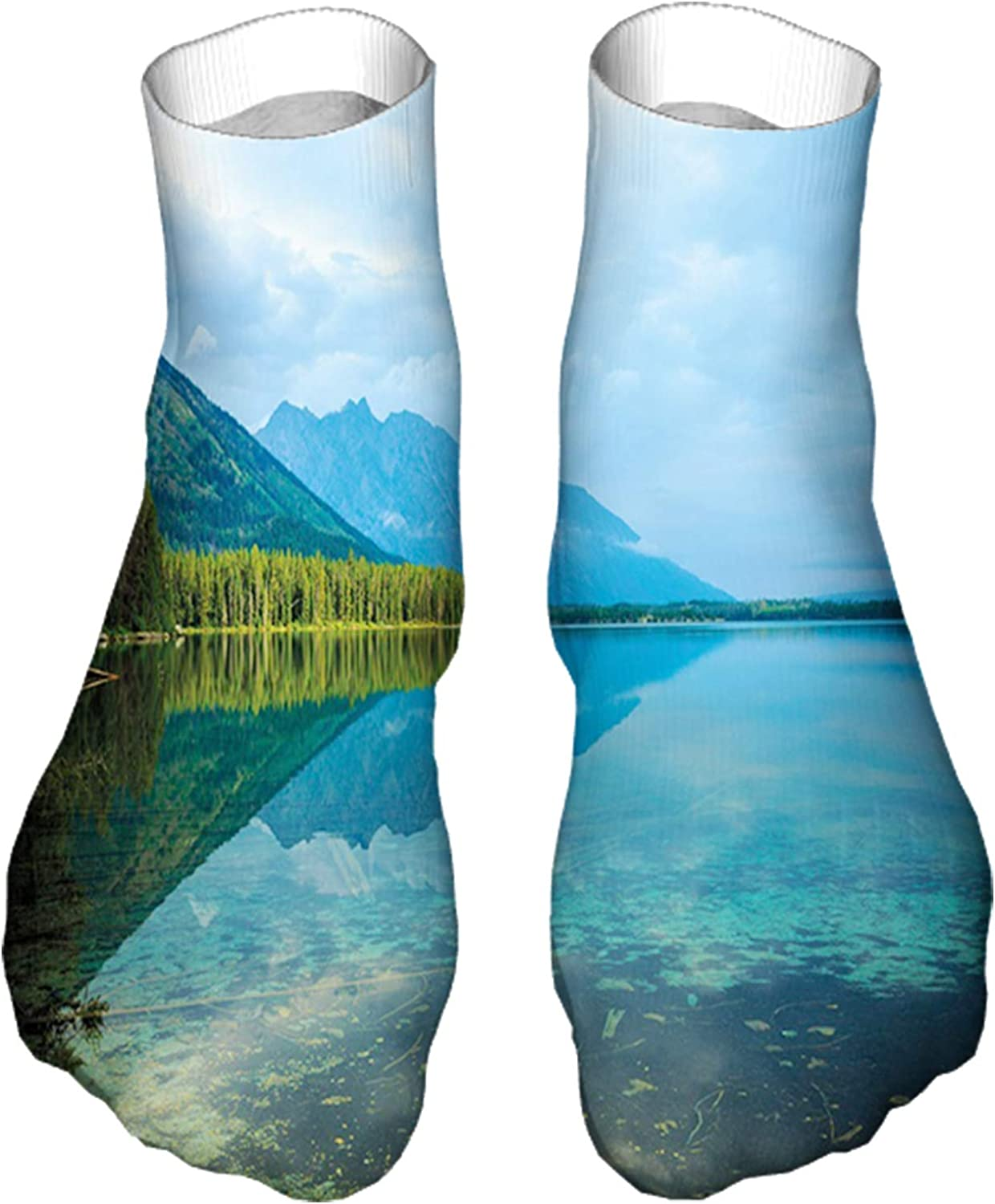 Women's Colorful Patterned Unisex Low Cut/No Show Socks,Leigh Lake Landscape with Amazing Sky and Reflections