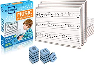 """10 Pack Dry Erase Music Staff Lap White Boards 9""""X12"""