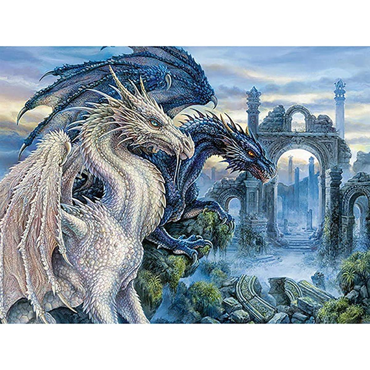 DIY 5D Diamond Painting by Number Kits, Crystal Rhinestone Embroidery Paint with Diamonds, Full Drill Canvas Art Picture for Home Wall Decor, Dragon, 13.58x16.92inch