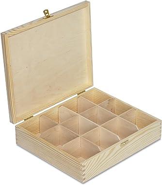 Creative Deco Boîte à Thé Sachets en Bois à Décorer | 12 Compartiments | 29 x 25 x 7,5 cm | Plusieurs Tailles Disponibles | D