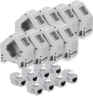 kwmobile 8X Module Keystone RJ45 Cat 6a - Modules de Brassage pour Branchement Câble RJ45 - Connecteur Blindé avec Support...