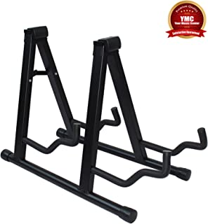 YMC Universal Folding Double Guitar Stand with Secure Lock - for Acoustic and Electric Guitar