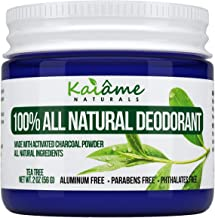 Kaiame Naturals Natural Deodorant (Tea Tree) with Activated Charcoal Powder, All Natural and Organic Ingredients, No Aluminum, Parabens, or Phthalates
