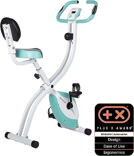 Ultrasport Bicicleta de ejercicio Unisex F-Bike, pantalla LCD, entrenador casero plegable, optativo, con respaldo, ni...