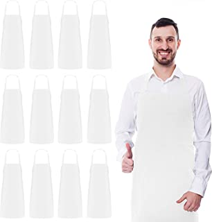 Utopia Kitchen 12 Pack Bib Aprons Bulk, 32-Inch by 28-Inch with Extra Long Ties, White