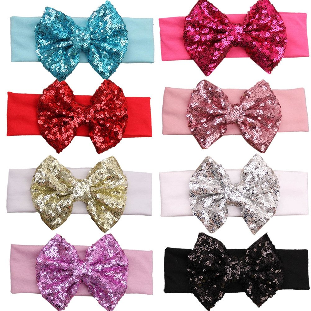 GBATERI 8pcs Baby Girls Sequins with Se Headbands Atlanta Mall Glitter Cotton Limited Special Price