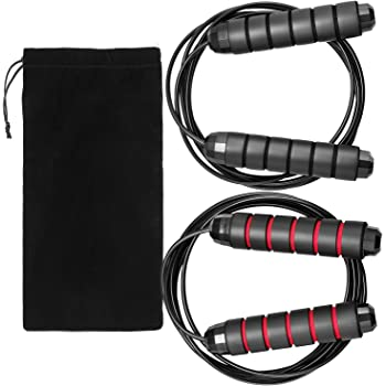 "Hudii Jump Ropes, Smooth Ball Bearing Skipping Ropes with 6"" Foam Hand Grip, 2 Pack with Carrying Bag"