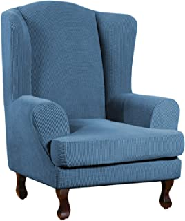 Best Super Stretch Stylish Furniture Cover/Wingback Chair Cover with Elastic Bottom Anti-Slip Foam Sticks Featuring Jacquard Fabric Small Checks Fabric (Wing Chair, Dustyblue) Review
