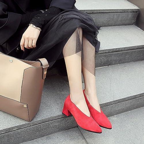 DIDIDD Printemps Au Début du Printemps Talons Hauts Chaussures Paresseuses en Cuir Chaussures Femmes Frougeter Rugueux avec OL Chaussures,Rouge 8.5cm avec,35