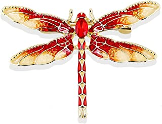 Reizteko Crystal Rhinestones Crystal Colorful Dragonfly Brooch Pin Fashion Girl Jewelry Brooches Pins (Red)