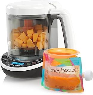 Baby Brezza - Juego de cocina y licuadora para bebés pequeños en una para vapor y puré de alimentos para bebés para bolsas - Hacer alimentos orgánicos para bebés y niños pequeños - Incluye 3 bolsas y 3 embudos
