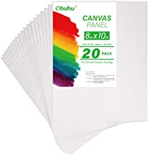 Ohuhu Canvas Panels 20 Pack - 8 x 10 Inch Painting Canvas Panel Boards, Primed White Blank- 100% Cotton Artist Canvas Boar...