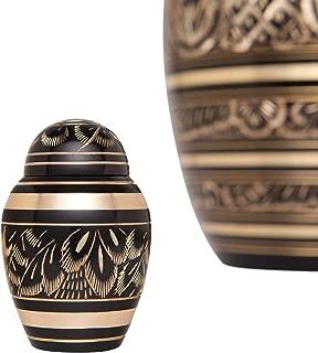 Liliane Memorials Black and Gold Urn Keepsake for Ashes Cremation Urn Small Metal Keepsake for Human Ashes - Affordable Mini Funeral Keepsake Urn for Ashes Handcrafted Urn - Velvet Bag (8512)
