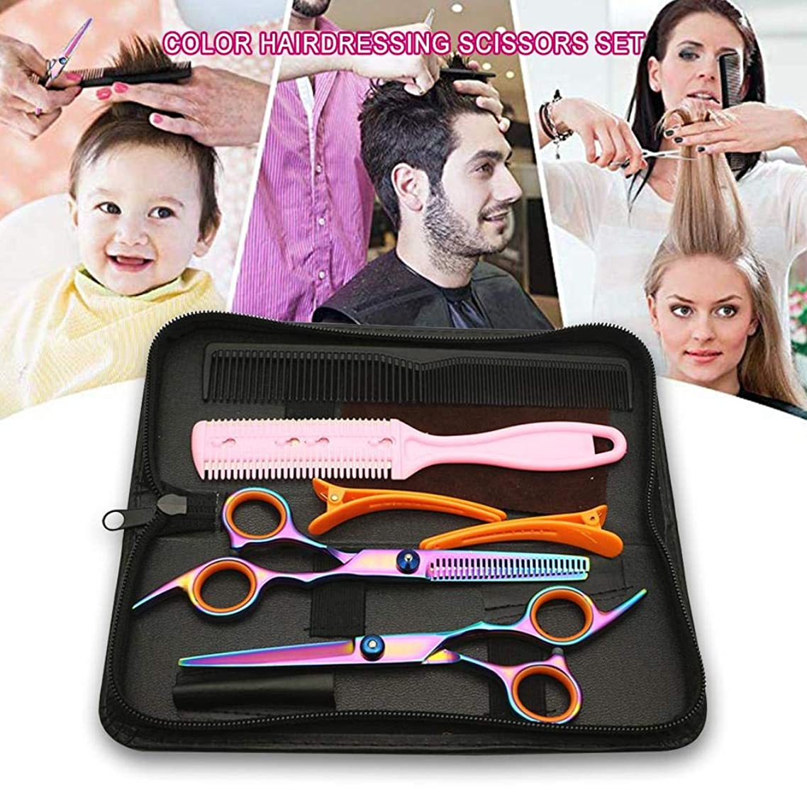 Bulary Colored Hairdressing Scissors Set,Household Professional Hair Cutting Shears Set with Hairdressing Tools Carrying Case