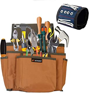 Waist Tool Bag Belt Magnetic Wristband Set 7 Pockets Tools Pouch for Father's Day Gift Electrician Gardener Woodworker