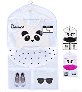 KEHO Clear Kids Garment Bag with 4 Pockets For Dance Competitions and Costumes | (Clear