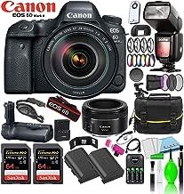 Canon EOS 6D Mark II DSLR Camera w/ 24-105mm f/4 Lens + 2-64GB Extreme PRO Cards + EF 50mm f/1.8 STM Lens + Godox TT685C Thinklite + Battery Grip + 2-LP-E6N Batteries + Large Camera Bag & More