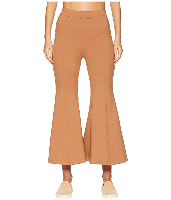 Cushnie High-Waisted Cropped Neoprene Flare Pants (Caramel) Women