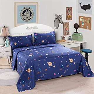Bedlifes Space Sheets for Kids Boys Girls Moon and Stars Bed Sheets Flat Sheet& Fitted Sheet with Pillowcase 3PCS Navy Twin