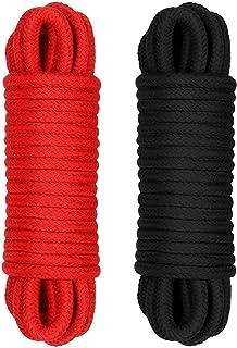 RianGor Paquete 2 Cuerdas multipropósito Soft - 32 pies de largo, diámetro de 1/3 de pulgada (negro y rojo)