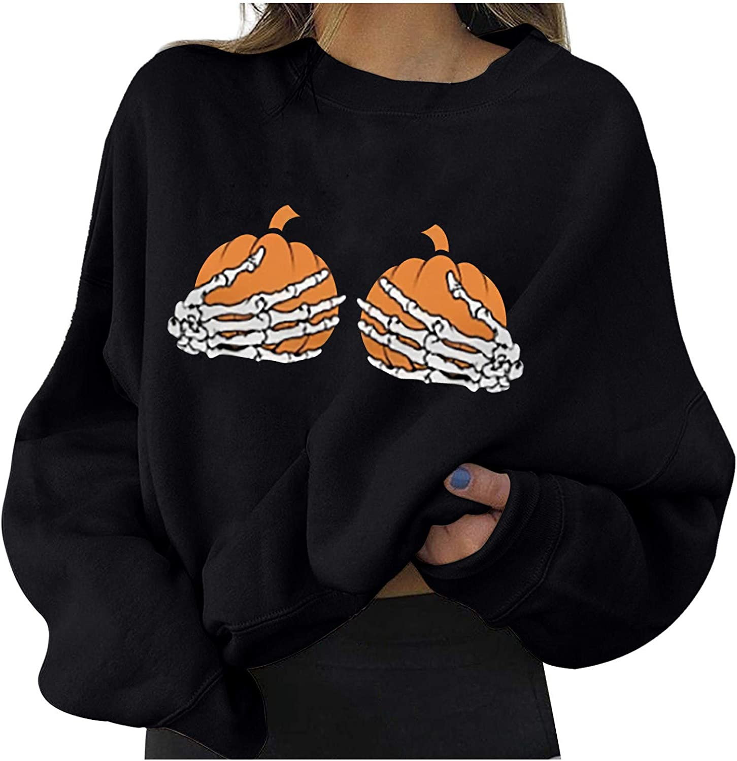 Long Sleeve for Women Cute Pumpkin Printing Pullover Autumn Warm Loose Round Neck Sweatshirt Tops Blouses
