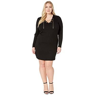 MICHAEL Michael Kors Plus Size Rib V-Neck Puff Sleeve Dress (Black) Women