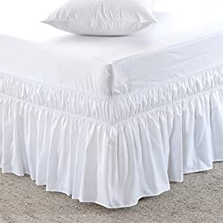 White, Full-XXL Size 9 inch Drop - Wrap Around Elastic Bed Skirt - Poly Cotton - Easy On/Easy Off Dust Ruffled Bed Skirts Soft & Wrinkle Free Bed Skirt.