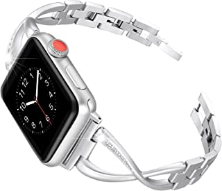 Secbolt Stainless Steel Band Compatible Apple Watch Band 38mm 40mm Women Iwatch Series 5/4/3/2/1 Accessories Metal Wristband X-Link Sport Strap, Silver
