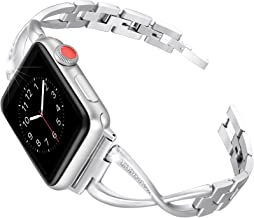 Secbolt Bands Compatible Apple Watch Band 38mm 40mm Iwatch Series 6/5/4/3/2/1 SE Women Dressy Jewelry Stainless Steel Acce...