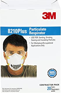 3M 8210 Plus Paint Sanding Dust Particulate Respirators, N95, 20-Pack
