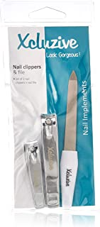 Xcluzive Set of 2 Nail Clippers + Nail File, Pack of 1