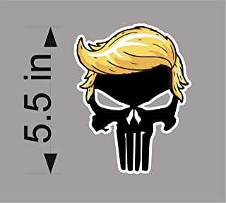 BSG Trump Punisher Hair Window Decal Bumper Sticker Funny pro USA NRA 2A