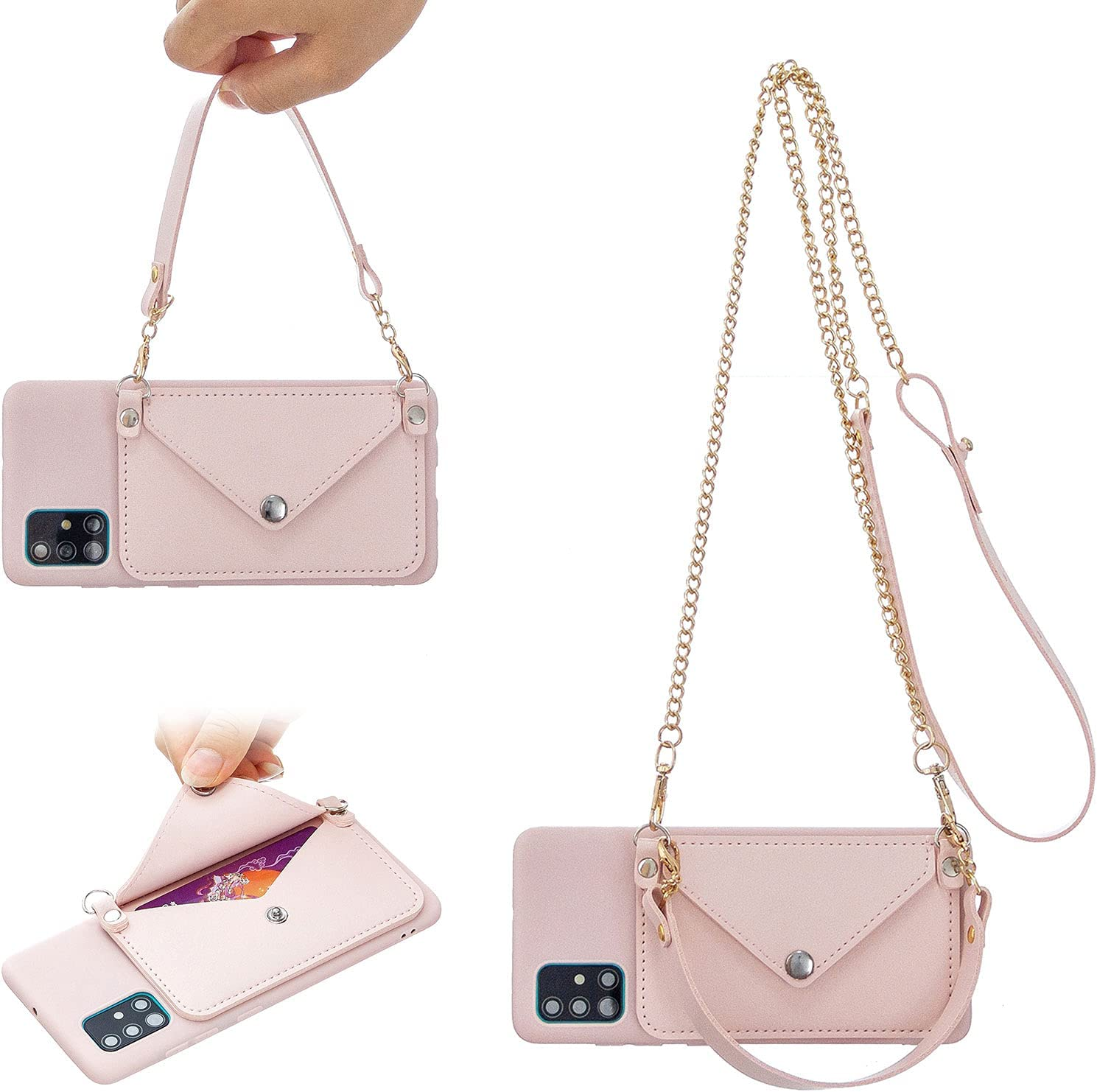 Girlyard for Samsung Galaxy A42 5G Case with Card Holder and Lanyard, Soft TPU Silicone Wallet Phone Case with Wrist Strap and Crossbody Shoulder Chain Strap Purse Cover for Women Girls - Pink