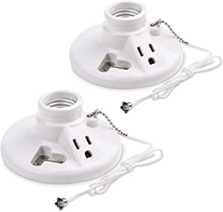 Cable Matters UL Listed 2-Pack Porcelain Pull Chain Light Fixture, Lampholder with Outlet in White