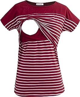 Camiseta Enfermería de Manga Corta Camiseta Maternidad Lactancia Top Algodón Premamá Embaraza de Rayas