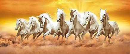 "Walls And Murals Vaastu Paintings For Home - 7 Running Horses (Large) - Original Artist Work ( Copyright Protected), 20"" X 48"""