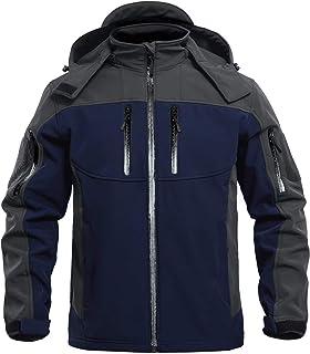 MAGCOMSEN Men's Windbreaker Jacket Winter Coats 6 Zipper Pockets Hooded Snow Ski Jacket Water Resistant Tactical Jacket