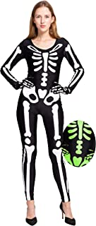 Spooktacular Creations Skeleton Bodysuit Halloween with Glow Patterns and Skeleton Gloves for Women