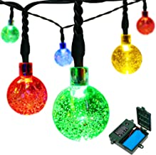 easyDecor [Rechargeable Battery Included] Globe Battery Operated String Lights 30 LED Automatic Timer 8 Mode Crystal Ball Christmas Lights for Xmas Garden Outdoor Holiday Decoration (Multicolored)