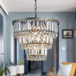 Saint Mossi Chandelier Modern K9 Crystal Raindrop Chandelier Lighting Flush Mount LED Ceiling Light Fixture Pendant Lamp for Dining Room Bathroom Bedroom Livingroom 5 G9 Bulbs Required H12