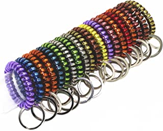 20 Packs Mix Color Plastic Coil Stretch Wristband Elastic Stretchable Spiral Bracelet Key Ring/Key Chain/Key Hook/Key Holder for Gym, Pool, ID Badge and Outdoor Sports (Bright)