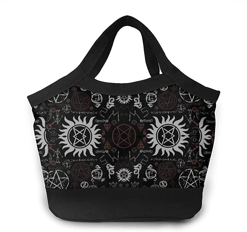 Supernatural Symbols Lunch Bag Insulated Lunch Box Tote For Women Men Adult Kids Teens Boys Teenage Girls Toddlers
