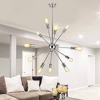 Sputnik Chandeliers 12 Lights Vintage Pendant Ceiling Light Chrome, UL Listed