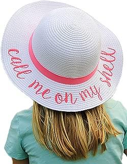 Funky Junque Girls Sun Hat Bold Cursive Embroidered Adjustable Beach Floppy