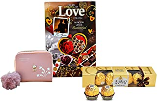 Saugat Traders Valentine Day Gift For Wife- PU Leather Women's Wallet-Ferrero Rocher Chocolate-Love Greeting Card-Gift For...