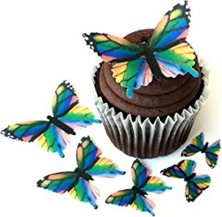 Assorted Rainbow Monarch Wafer Paper Butterflies 5 Different Sizes ranging from 7/8 Inch to 2 Inch for Decorating Desserts Pack of 24